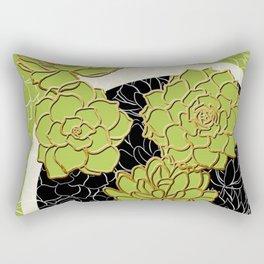 Golden Flowers on Happy Green Rectangular Pillow
