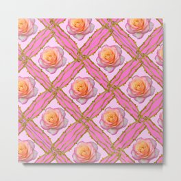 CREAMY  ROSES & RAMBLING THORNY CANES ON  PINK  DIAGONAL PATTERNS Metal Print
