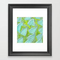 Sea of Leaves - Blue and Green Leaf pattern Framed Art Print