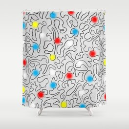 Puzzle with Spraypaint - Primary Colors Shower Curtain