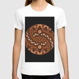 Brown Yin a Yang mandala T-shirt