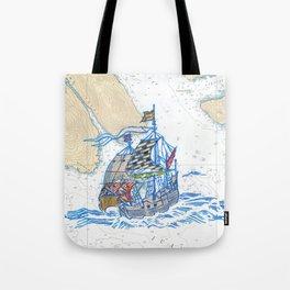 Sailing Ship X Tote Bag