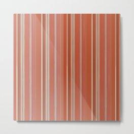 Rusty Coral Ombré Stripes Metal Print