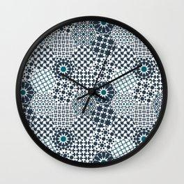 Spanish Tiles of the Alhambra - Gray & dark Aquamarine Wall Clock