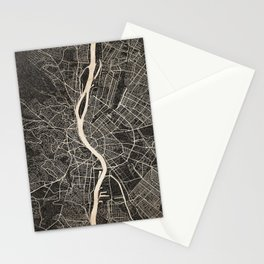budapest map ink lines Stationery Cards