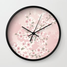 Vintage Floral Cherry Blossom Wall Clock