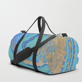 marble stone turquoise and gold Duffle Bag