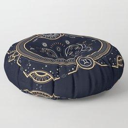Gemini Zodiac Gold White on Black Background Floor Pillow