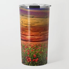 Red Poppy Meadows | Oil Painting Travel Mug