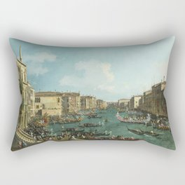 A Regatta on the Grand Canal by Canaletto Rectangular Pillow