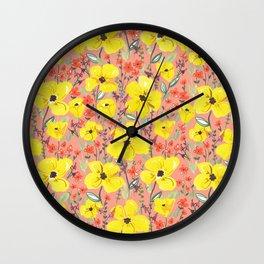 Yellow meadow flowers pattern Wall Clock