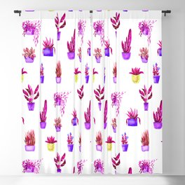 Hand painted magenta pink lilac yellow watercolor cactus floral Blackout Curtain