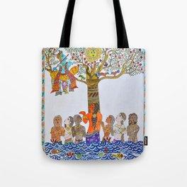 Krishna Leela, Madhubani Painting Tote Bag