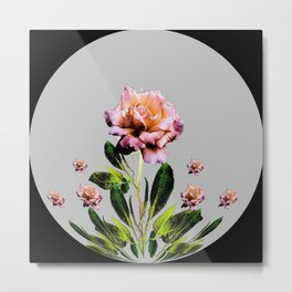 ANTIQUE PINK ROSES BLACK-GREY COLOR BOTANICAL Metal Print