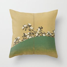 Camelias - Japanese Edo Period 2-Panel Screen Throw Pillow