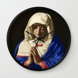 The Virgin in Prayer by Giovanni Sassoferrato (c. 1645) Wall Clock