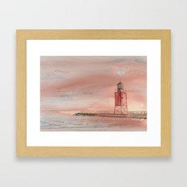 Charlevoix South Pierhead Framed Art Print