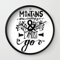 the mountains are calling Wall Clocks featuring mountains are calling by atrasi // design & illustration