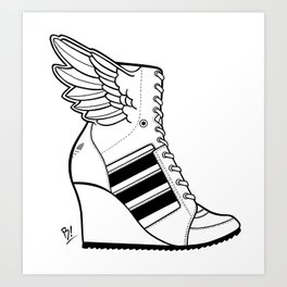 ADIDAS WINGED WEDGE SNEAKER BOOTIE Art Print