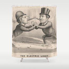 Vintage Electric Lightbulb Inventor & Entrepreneur Art Shower Curtain