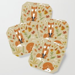 Foxes with Fall Foliage Coaster