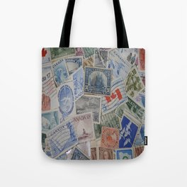 Canadian Pride Vintage Postage Stamp Collection From Canada Tote Bag