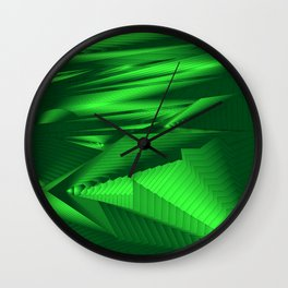 Diffuse landscap with stylised mountains, sea and green Sun. Wall Clock
