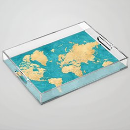 "Detailed wold map with zodiac constellations, ""Lexy"" Acrylic Tray"