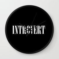 introvert Wall Clocks featuring Introvert by Poppo Inc.