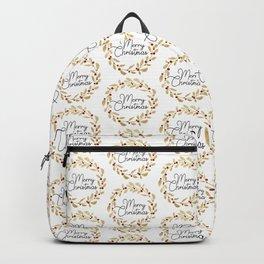Merry Christmas - Gold Glitter Wreath Backpack