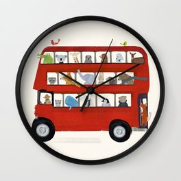 the big little red bus Wall Clock