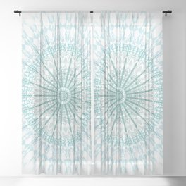 Turquoise White Mandala Sheer Curtain