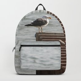 Lonely Seagull Bird Wooden Pier Sea Backpack