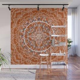 Detailed Burnt Orange Mandala Wall Mural