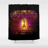 carpe Shower Curtains featuring Carpe Diem by Walter Zettl