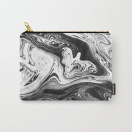 Mishiko - spilled ink abstract marble painting black and white minimal modern marbled paper water  Carry-All Pouch