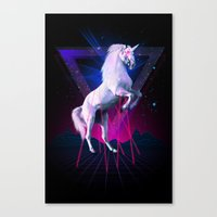 the last unicorn Canvas Prints featuring The last laser unicorn by Robert Farkas