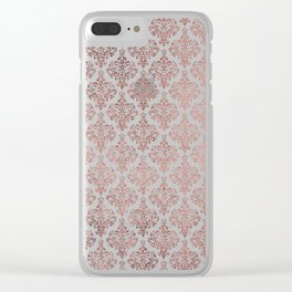 Elegant faux rose gold vintage floral damask Clear iPhone Case