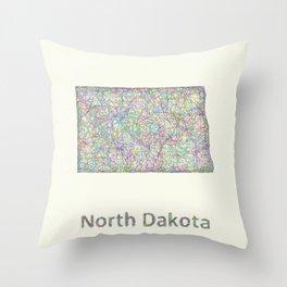 North Dakota map Throw Pillow