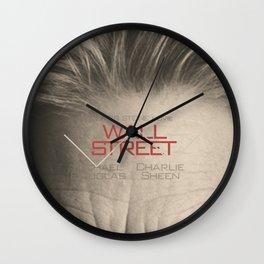 Wall Street, alternative movie poster, Gordon Gekko, Oliver Stone, film, minimal fine art playbill Wall Clock