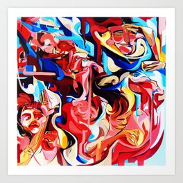 Expressive Abstract People Composition painting Art Print