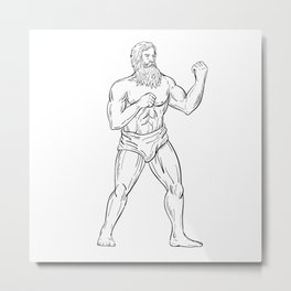 Bearded Boxer Fighting Stance Drawing Black and White Metal Print