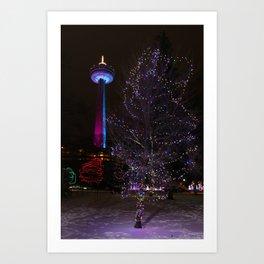 Skylon Tower with Christmas Lights Art Print