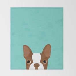 Red Boston Terrier Throw Blanket
