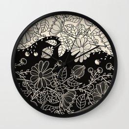 FLOWERS EBONY AND IVORY Wall Clock