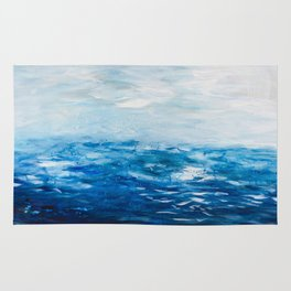 Paint 10 abstract water ocean seascape modern painting dorm room decor affordable stretched canvas Rug