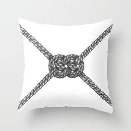 Double Coin Knot White Throw Pillow