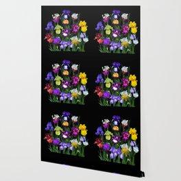 Iris Garden - on black Wallpaper
