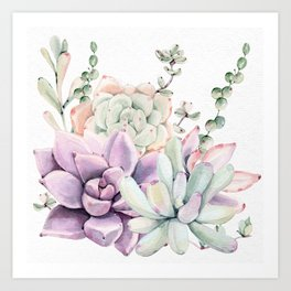 Succulents Mint and Purple by Nature Magick Art Print