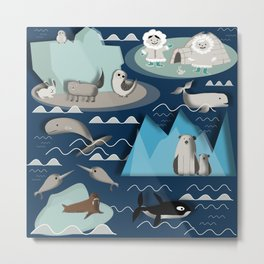 Arctic animals blue Metal Print